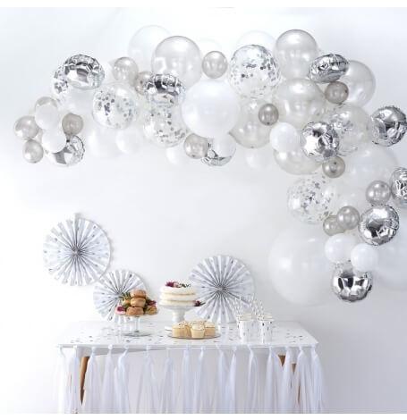 Kit Arche de 60 ballons Argent & Blanc| Hollyparty