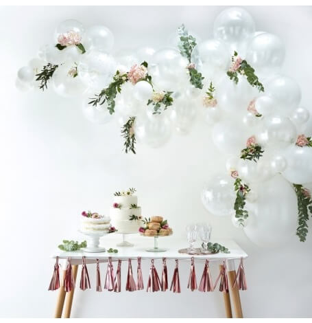 Kit Arche de 60 Ballons Blanc  Hollyparty