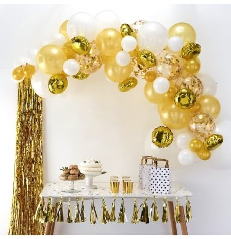 Kit Arche de 60 Ballons Or & Blanc| Hollyparty