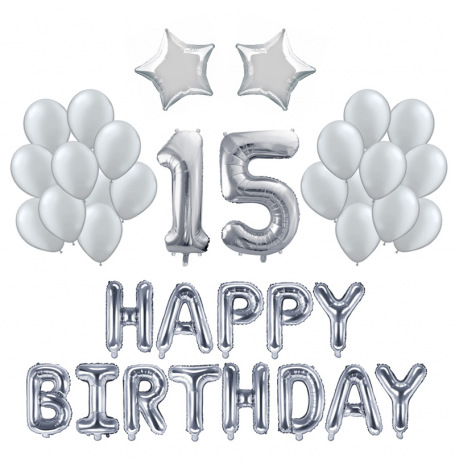 Kit Ballons Anniversaire 15 ans Argent (x21)| Hollyparty