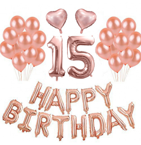 Kit Ballons Anniversaire 15 ans Rose Gold (x21)  Hollyparty