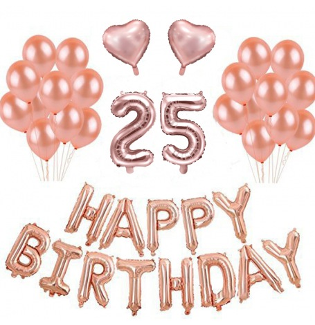 Kit Ballons Anniversaire 25 ans Rose Gold (x21)| Hollyparty