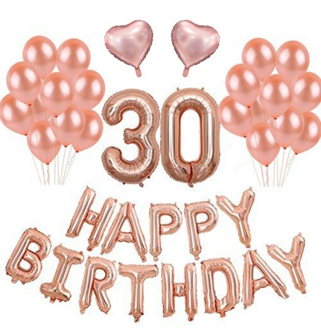 Kit Ballons Anniversaire 30 ans Rose Gold (x21)| Hollyparty