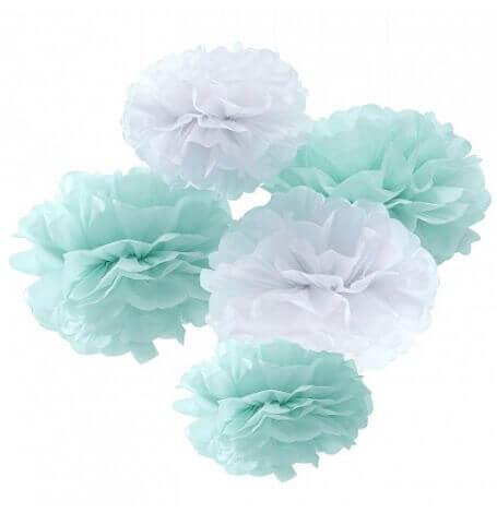 Kit Déco 5 Pompons Fleur Mint & Blanc| Hollyparty