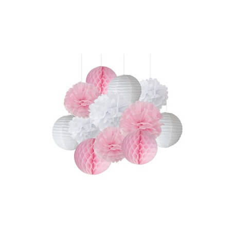 Kit Décoration 12 pièces Rose Pastel & Blanc| Hollyparty