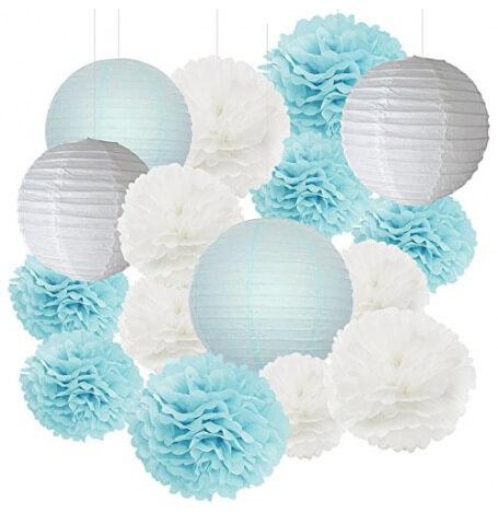 Kit Décoration 16 pièces Bleu Pastel & Blanc | Hollyparty