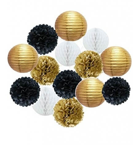 Kit Décoration 16 pièces Noir, Or & Blanc  Hollyparty