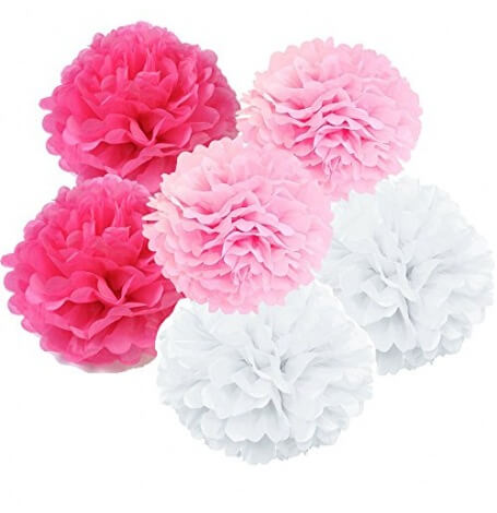 Kit Décoration 6 Pompons Fleur Rose, Fuschia et Blanc| Hollyparty