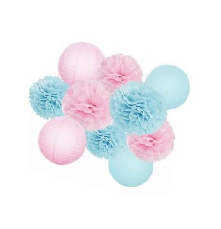 Kit Décoration Gender Reveal 10 Pièces Rose & Bleu | Hollyparty