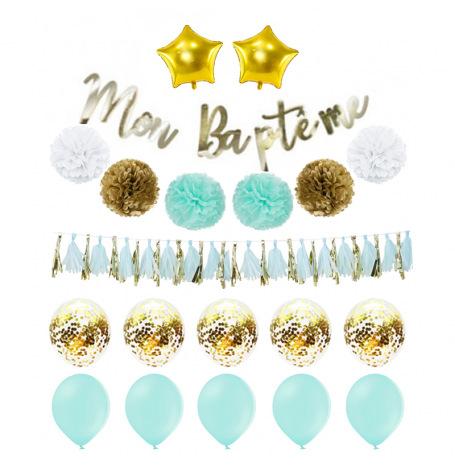 Kit Décoration Mon Baptême Mint & Or (20 pces)| Hollyparty