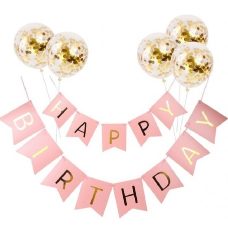 Kit Guirlande Happy Birthday (x1) + Ballons confettis Or (x5)| Hollyparty
