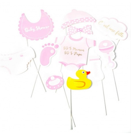 Kit Photobooth Baby Shower Fille (x11)| Hollyparty