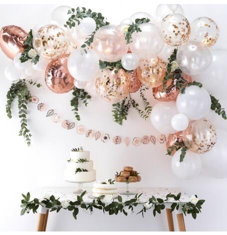 Kit pour Arche de 60 Ballons Rose Gold & Blanc  Hollyparty