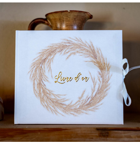 Livre d'Or Jolie Pampa Blanc & Or 68 pages| Hollyparty
