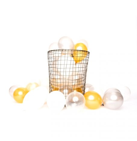 Mix 12 Ballons de baudruche Or, Argent, Blanc | Hollyparty