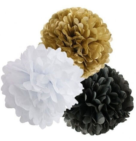 Mix Pompoms Noir, Or & Blanc (3 pces ou 6 pces)| Hollyparty