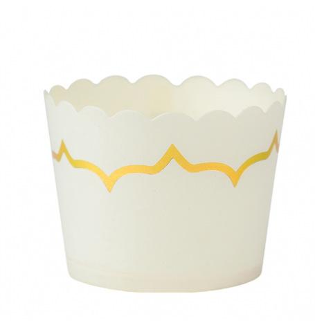Moules à cupcake Blanc et lisière Doré 85ml (x20)| Hollyparty