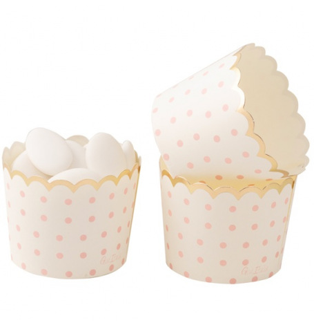 Moules à cupcake Pois Rose & Or (x20) | Hollyparty