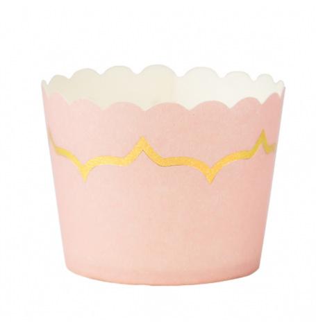 Moules à cupcake Rose Poudré et lisière Doré 85ml (x20)| Hollyparty