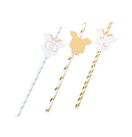 Pailles Baby Shower Vert d'Eau & Or (x8)| Hollyparty