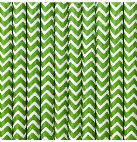 Pailles Biodégradable en papier Chevron Vert (x20)| Hollyparty
