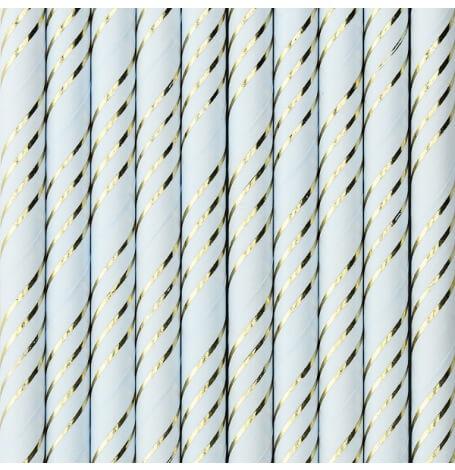 Pailles Biodégradable Papier Bleu & Or (x20)| Hollyparty