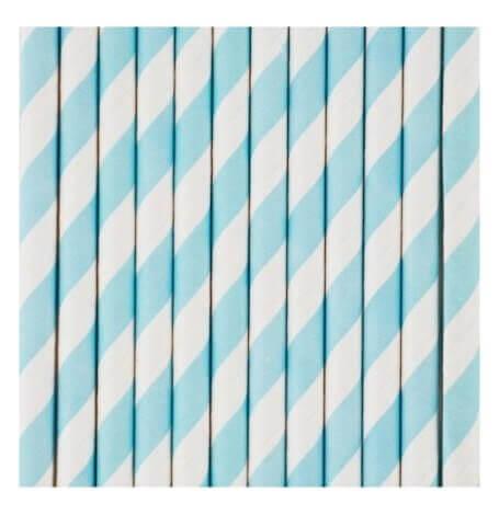 Pailles Biodégradable Papier à Rayure Bleu Pastel (x10)| Hollyparty