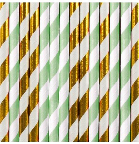 Pailles Biodégradable Papier Rayure Mint & Or (x20)| Hollyparty