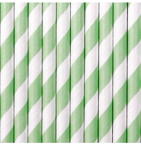 Pailles Biodégradable Papier Rayure Mint (x10)| Hollyparty