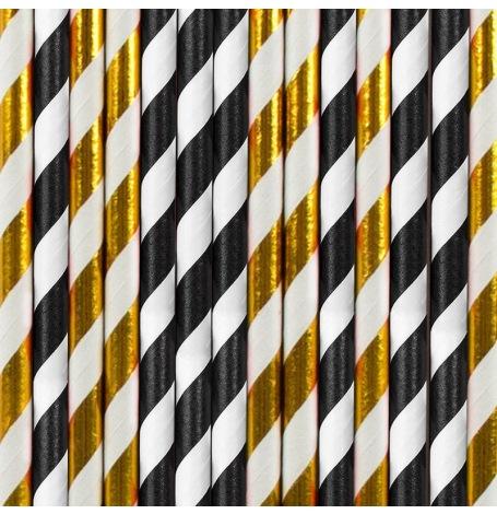 Pailles Biodégradable Papier Rayure Noir & Doré (x20)  Hollyparty
