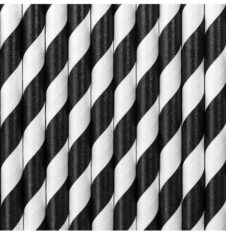 Pailles Biodégradable Papier Rayure Noir (x10)| Hollyparty
