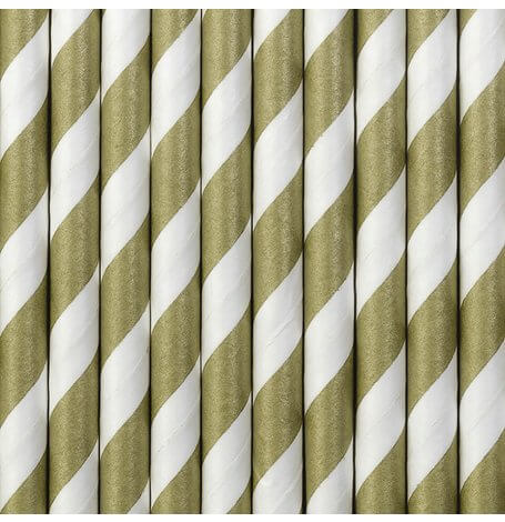 Pailles biodégradable papier Rayures Or (x20)| Hollyparty