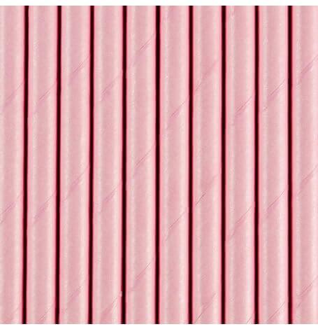 Pailles Biodégradable Papier Rose Pastel (x10)| Hollyparty
