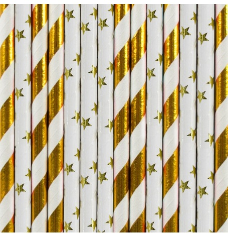 Pailles Biodégradables Papier Rayure et Etoile doré (x20)| Hollyparty