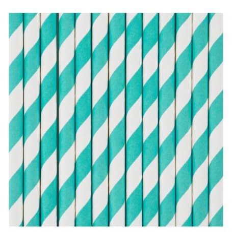 Pailles de Fête en papier Rayure Bleu Turquoise (x20)| Hollyparty