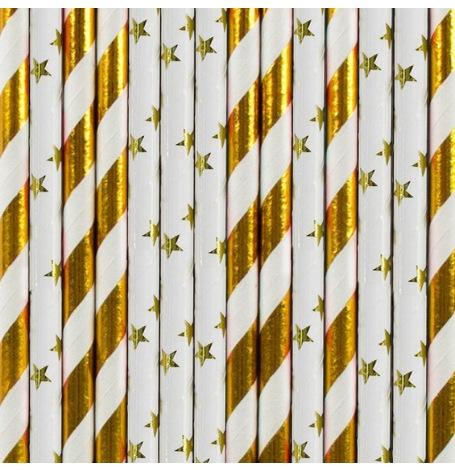 Pailles de fête en papier Rayure et Etoile doré (x20)| Hollyparty