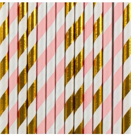 Pailles de fête en papier Rayure Rose & Or (x20)| Hollyparty
