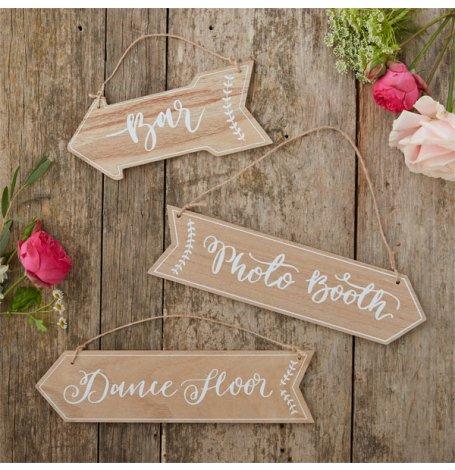 Pancartes fléchées en bois (x3) | Hollyparty