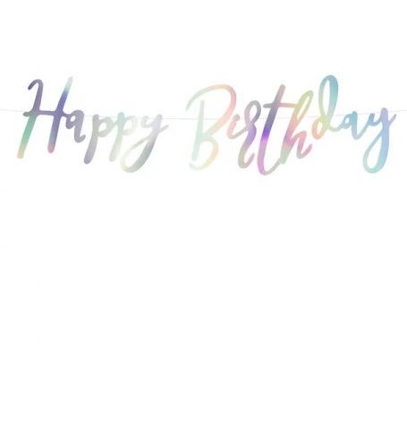 Petite Guirlande Happy Birthday Argent  Hollyparty