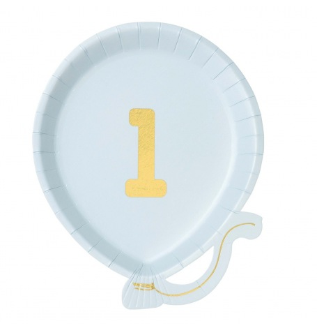 Petites Assiettes Ballons 1 an Bleu & Or (x6)| Hollyparty