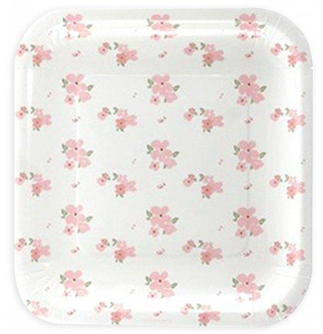 Petites Assiettes Carré Blanc à fleur (x5)| Hollyparty