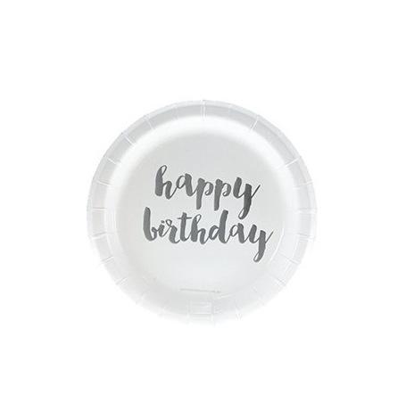 Petites Assiettes en carton Happy Birthday Argent (x6)  Hollyparty