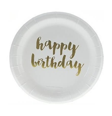 Petites Assiettes en carton Or Happy Birthday (x6)| Hollyparty