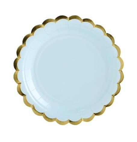 Petites Assiettes en carton Uni Bleu & Or (x6)| Hollyparty