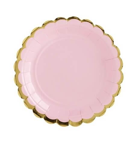Petites Assiettes en carton Uni Rose & Or (x6)| Hollyparty