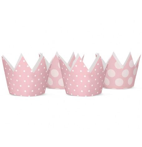 Petites Couronnes en carton Rose Enfant (x4)  Hollyparty