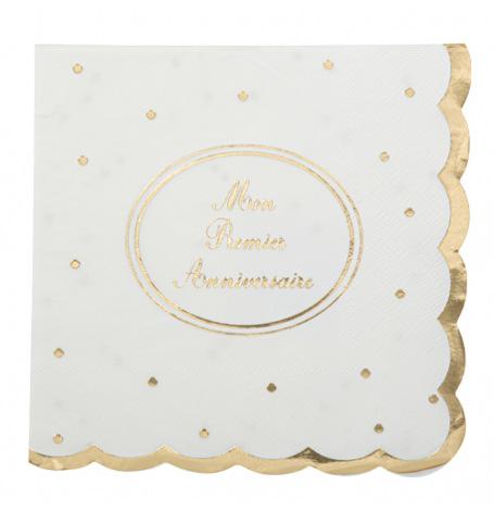 Petites Serviettes en papier Blanc Etoile Or (x20)| Hollyparty