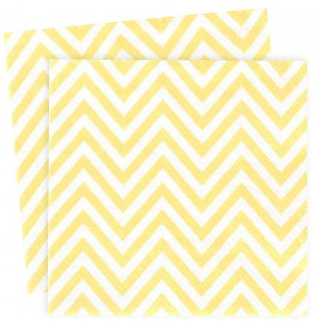 Petites Serviettes en papier Chevron Jaune (x20)| Hollyparty