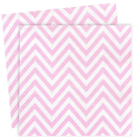 Petites Serviettes en papier Chevron Rose (x20)| Hollyparty