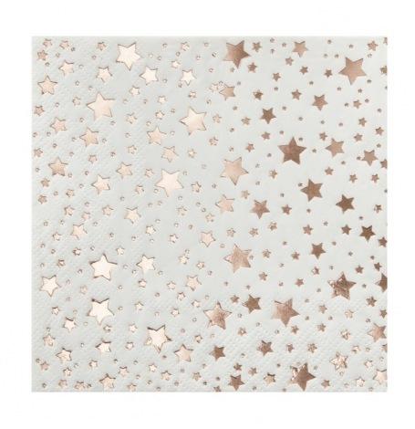 Petites Serviettes en papier Etoile Rose Gold (x20)| Hollyparty
